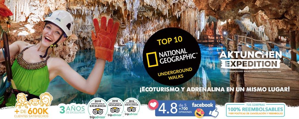 Mujer en cenote subterraneo aktun chen