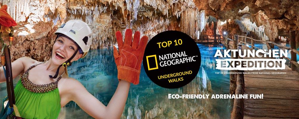 Woman at underground cenote aktun chen
