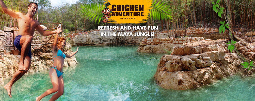 Couple getting fun inthe cenote rio maya at Chichen Adventure Mayan Park