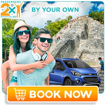 Young couple in a rent car enjoying coba tour by themself