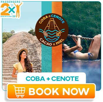 Young girl in a yellow dress visiting coba and swiming in a cenote at Chococacao