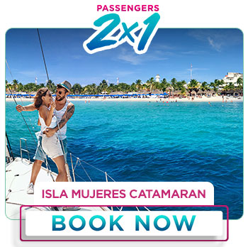 Spring Breack special deal 2x1 Isla Mujeres Catamaran with open bar
