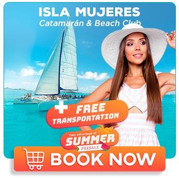 Catamaran sailing in turquoise sea of Isla Mujeres