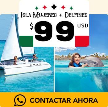 Paseo en Catamaran por isla mujeres con snorkel y nado con delfines