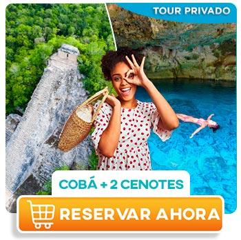 mujer joven latina diviertiendose en coba y nadando en cenotes