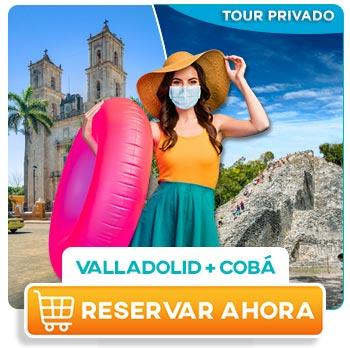 Mujer joven paseando en Valladolid Yucatán y cono ciendo Coba