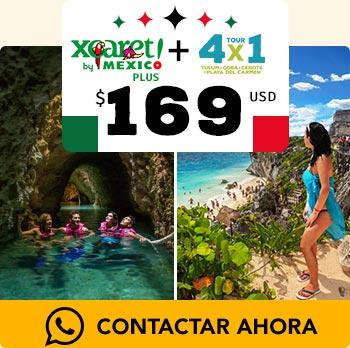 tour de Xcaret plus parque natural con paseo en piramide de Tulum nado en cenotes y visita a Cobá
