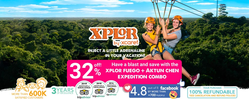 couple in the zipline of Xplor park
