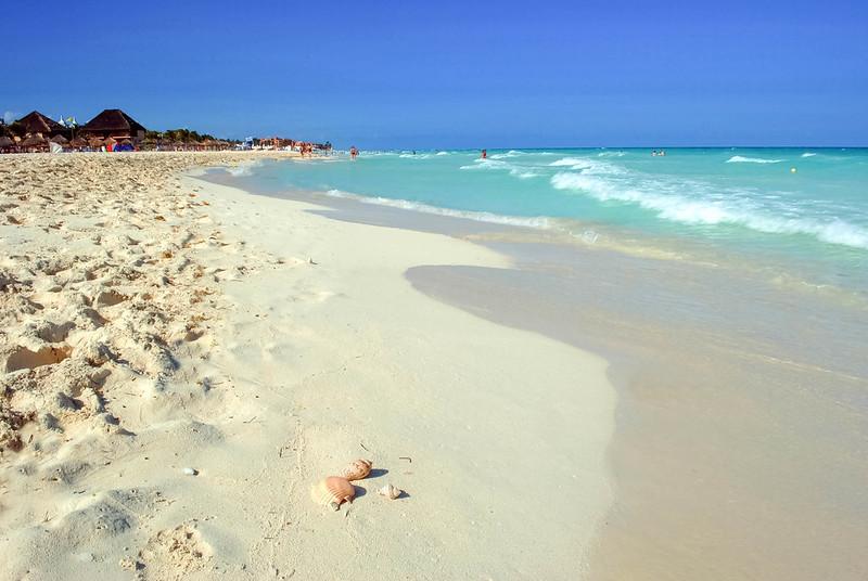 Arena blanca en las playas de la Riviera Maya