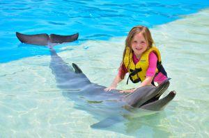 Niña rubia acariciando un delfín en Cancún