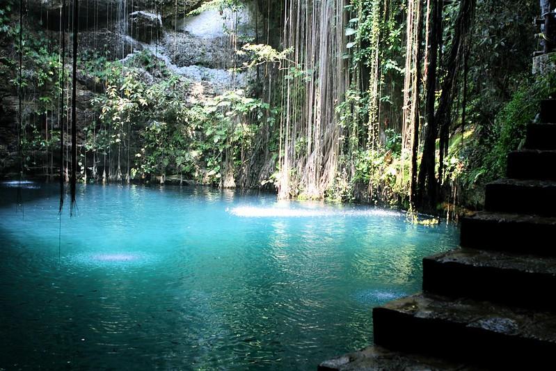 Caida de agua en cenote de la Riviera Maya