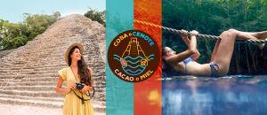 Mujer joven en vestido amarillo explorando coba y nadando en cenotes