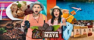 2 jovenes sorprendidos por las maravillas de chococacao maya