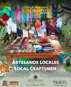 Artesanos locales en equinoccio maya de Cobá