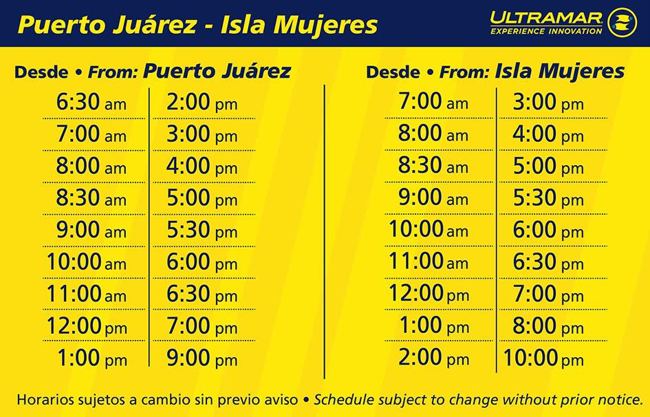 tabla de horarios de salidas y llegadas de ferrys para transportarse a isla mujeres