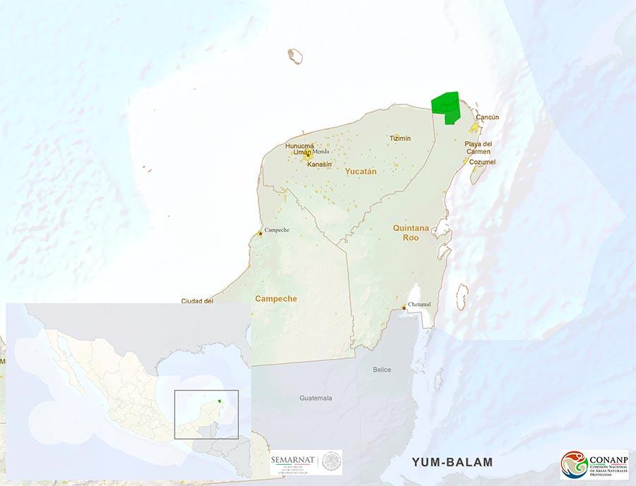 Mapa Biosfera de Yum Balam